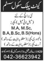 Cantt Public School System Lahore Jobs 2021