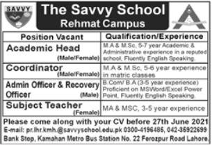 The Savvy School Rehmat Campus Lahore Jobs 2021