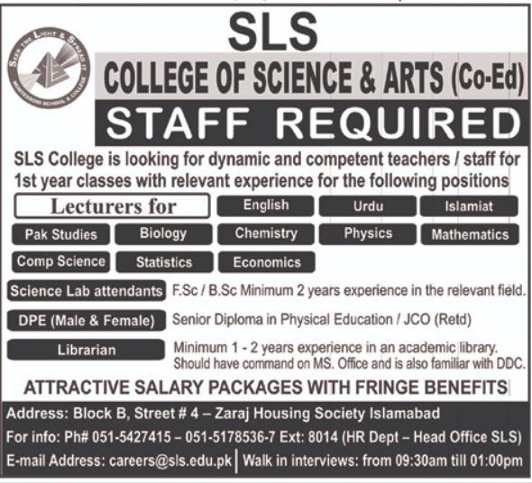 SLS College of Science & Arts Lecturer Jobs 2021