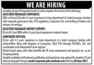 Group of Companies Jobs in Lahore