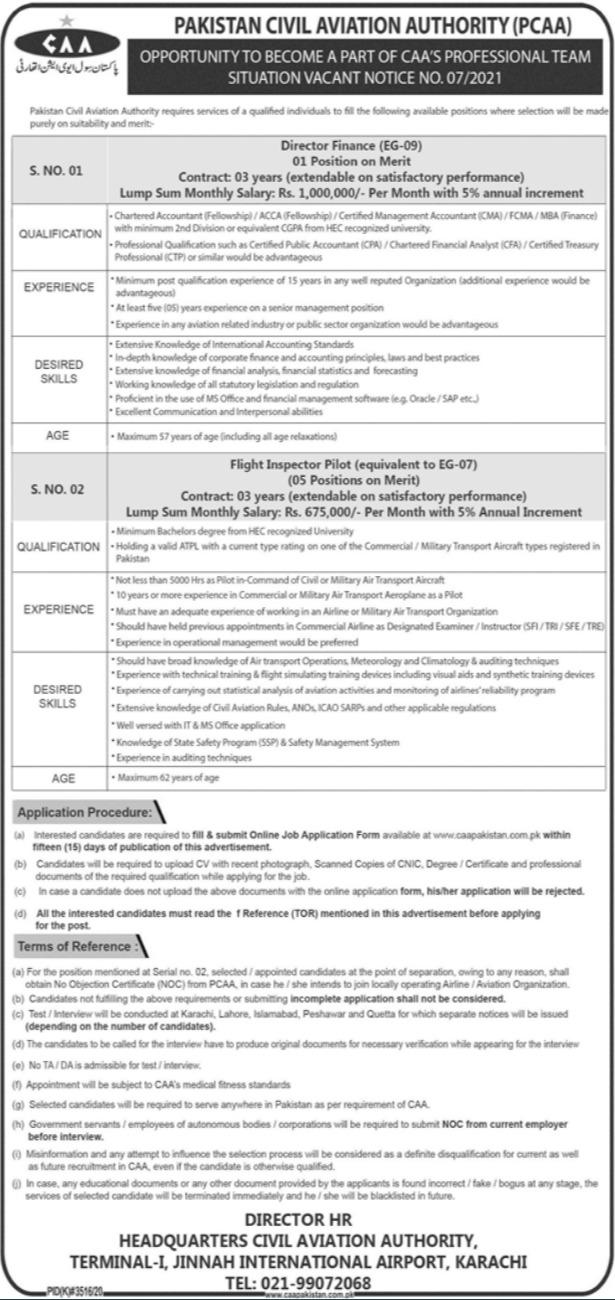 CiviL Aviation Authority Jobs in Lahore 2021