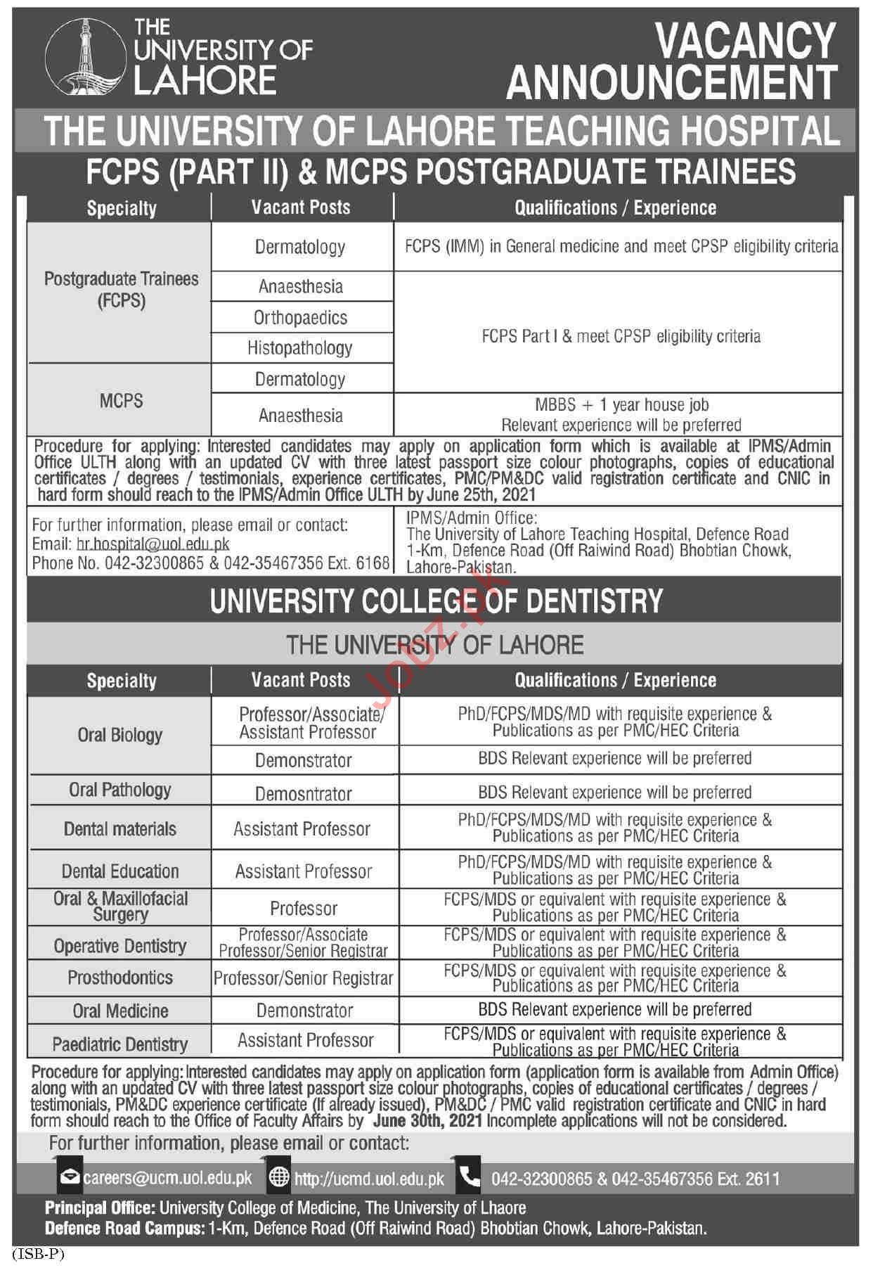 The University of Lahore Teaching Hospital Jobs 2021