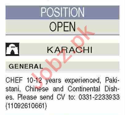 Chief & Continental Chef Jobs 2021 in Karachi
