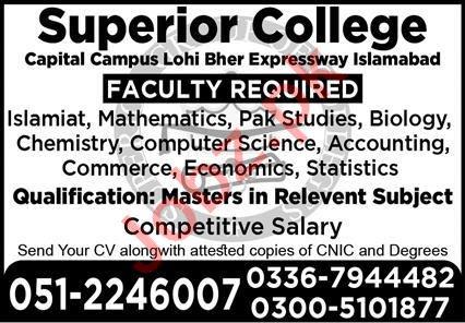 Superior College Capital Campus Lohi Bher Islamabad Jobs