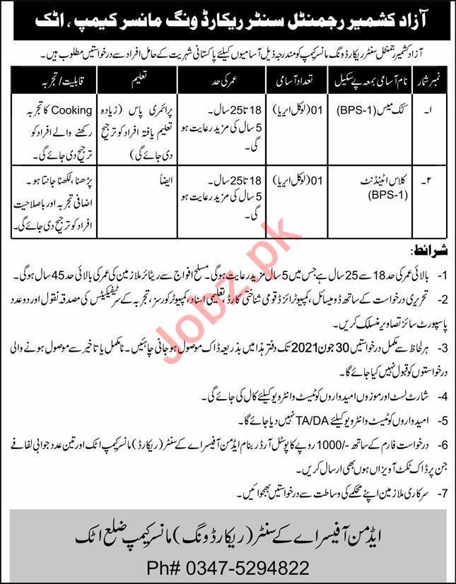 Azad Kashmir Regimental Centre Record Wing Mansar Camp Jobs