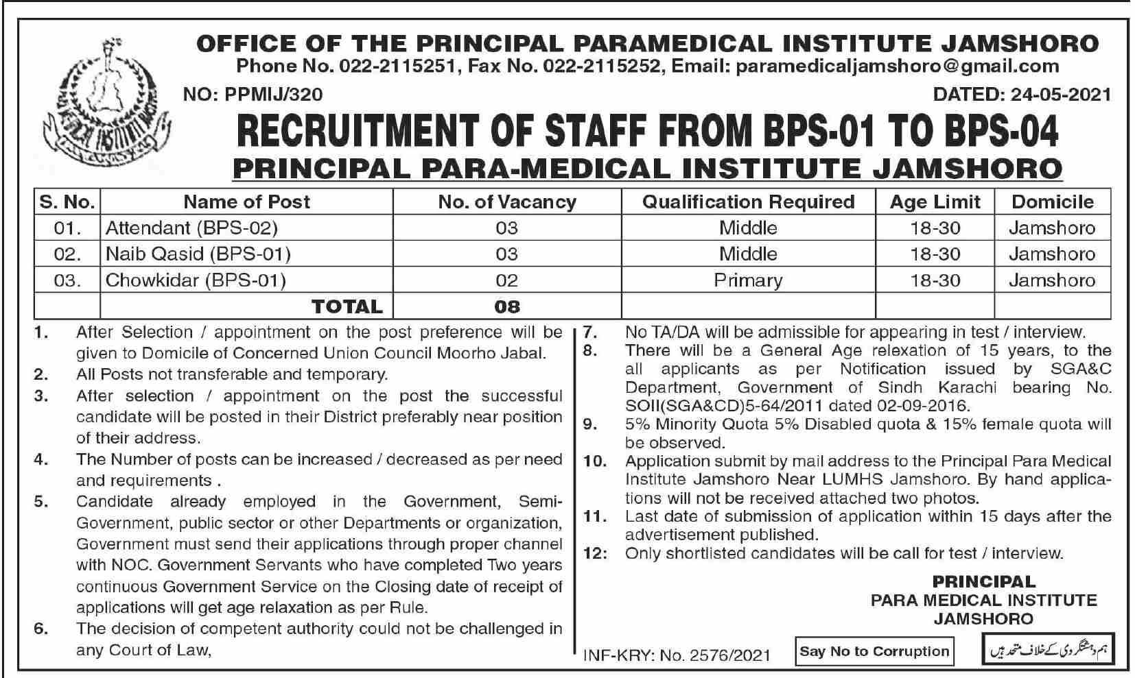 Paramedical Institute Jamshoro Sindh Jobs 2021