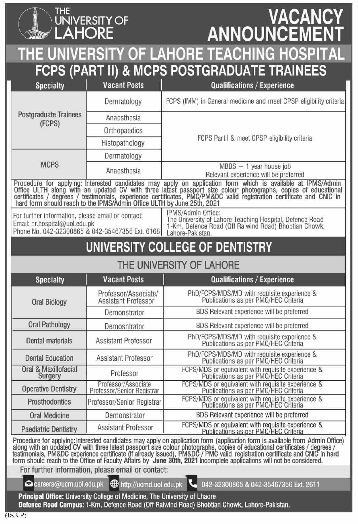UOL Teaching Hospital Postgraduate Training 2021