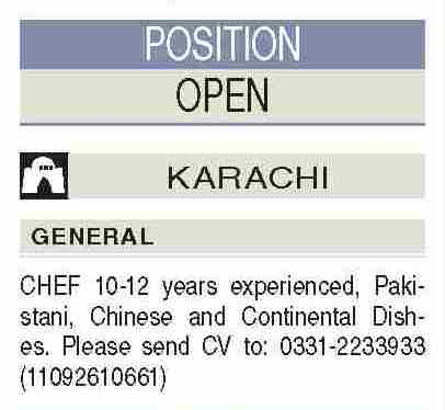 Continental Chef Chinese Chef Jobs in Karachi