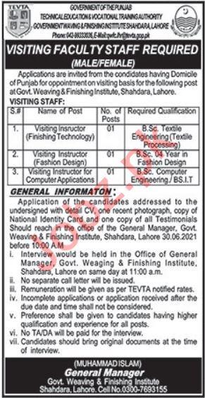 Govt Weaving & Finishing Institute Shahdara Lahore Jobs 2021