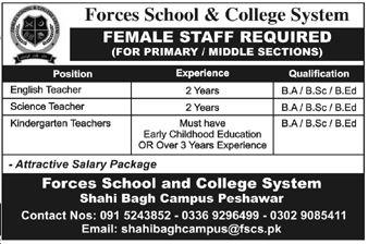 Forces School & College Shahi Bagh Campus Peshawar Jobs