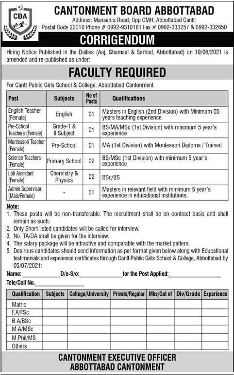 Cantrt Public School & College Abbottabad Jobs 2021