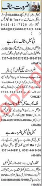Chemical Engineer & Call Center Agent Jobs 2021 in Lahore