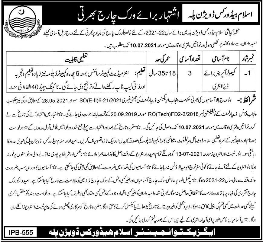 Islam Head Works Division Bahawalpur Jobs 2021