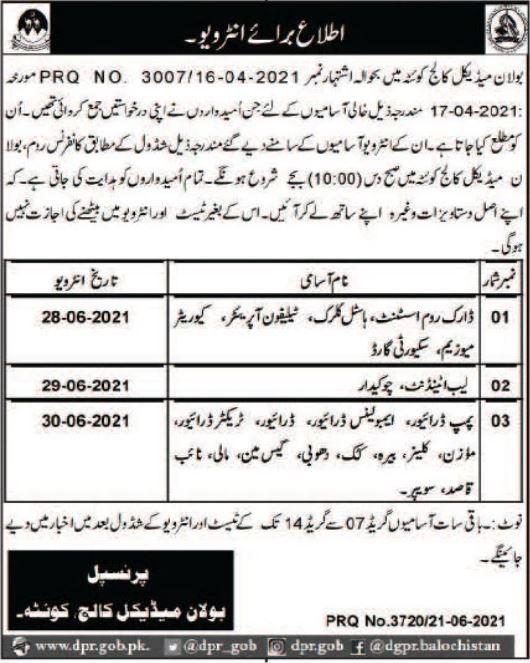Bolan Medical College Quetta Job Interviews 2021