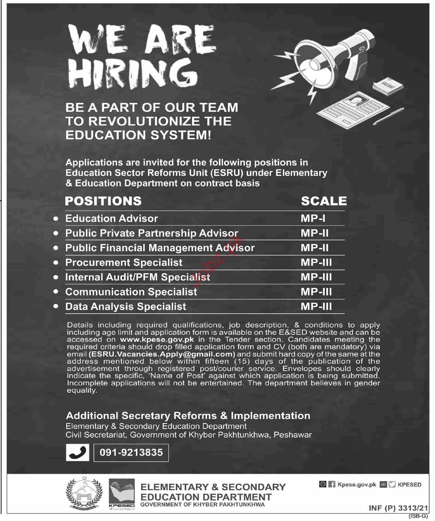 Education Sector Reforms Unit ESRU Peshawar Jobs 2021