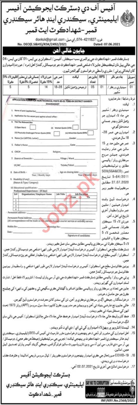 District Education Officer Kamber Shahdadkot Jobs 2021