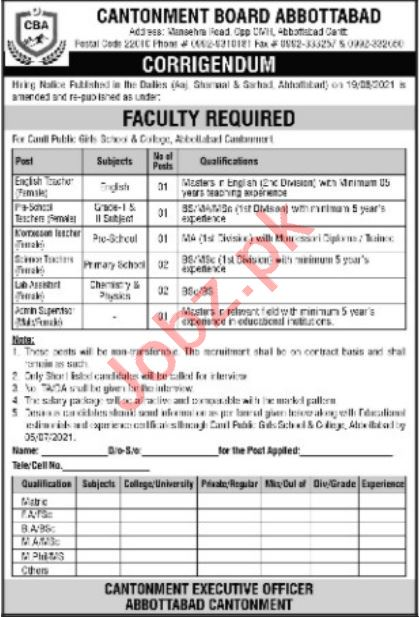Cantt Pubilic Girls School & College Abbottabad Jobs 2021