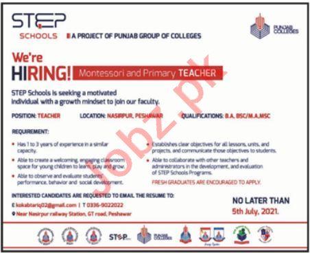 Step School GT Road Peshawar Jobs 2021 for Teacher