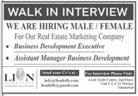 Lion Marketing Jobs in Islamabad 2021