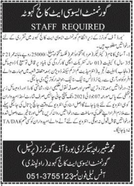 Govt Associate College Kahuta Rawalpindi Jobs 2021