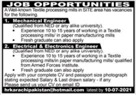 Textile Processing Mills Karachi Jobs 2021