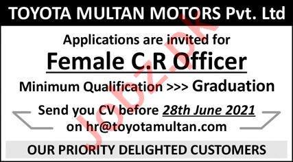 Toyota Multan Motors Jobs 2021 for Female CR Officer