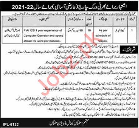 Irrigation Department Multan Canal Division Multan Jobs 2021
