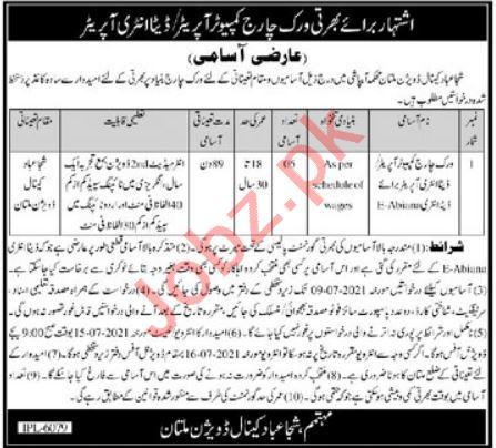Shujabad Canal Division Multan Jobs 2021 Data Entry Operator