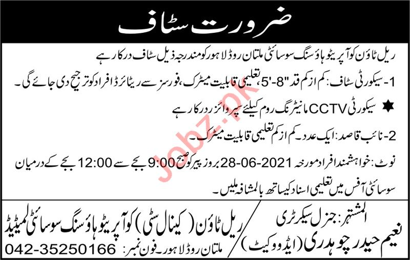 Canal City Cooperative Housing Society Lahore Jobs 2021