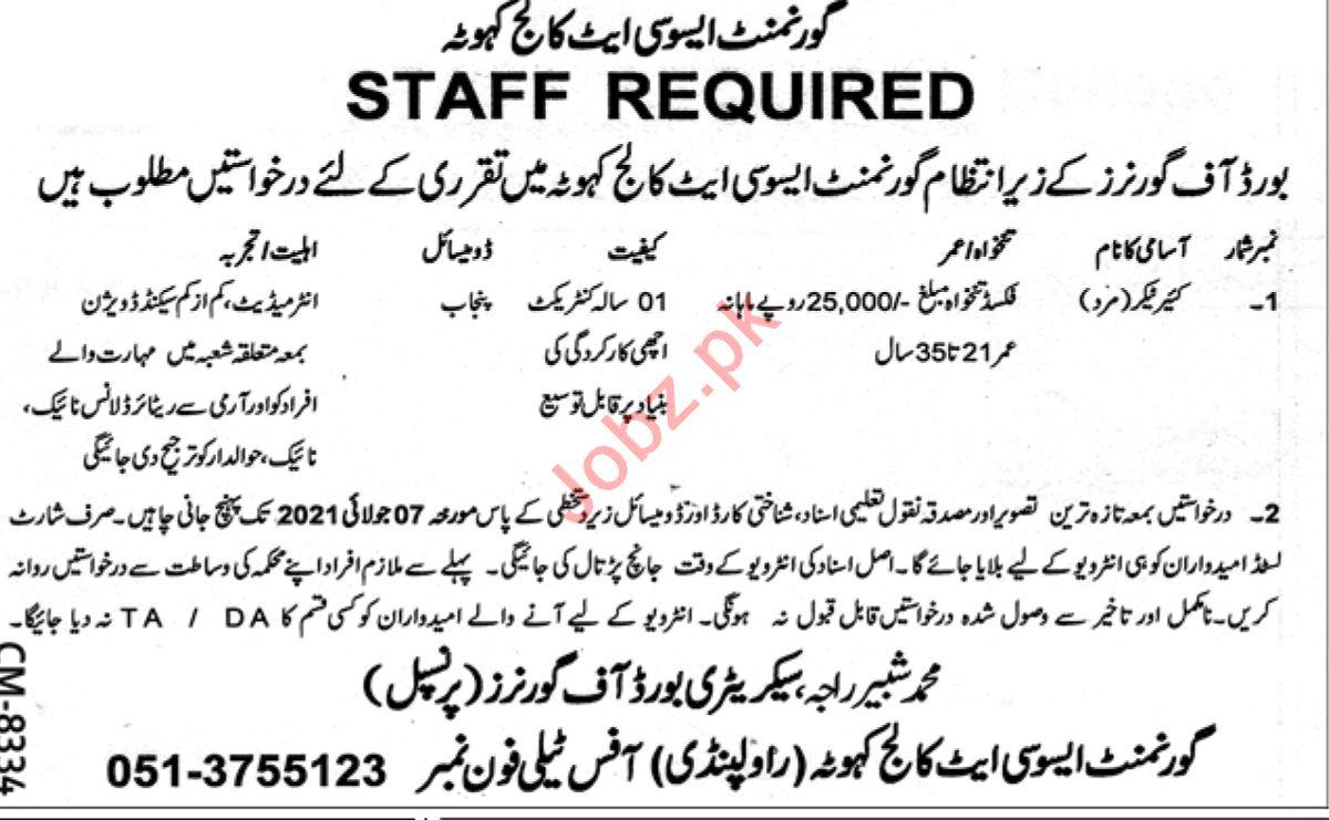 Government Associate College Kahuta Jobs 2021 Caretaker