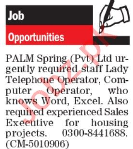 PALM Spring Lahore Jobs 2021 for Lady Telephone Operator