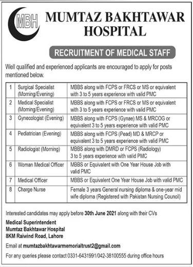 Mumtaz Bakhtawar Memorial Trust Hospital Jobs 2021