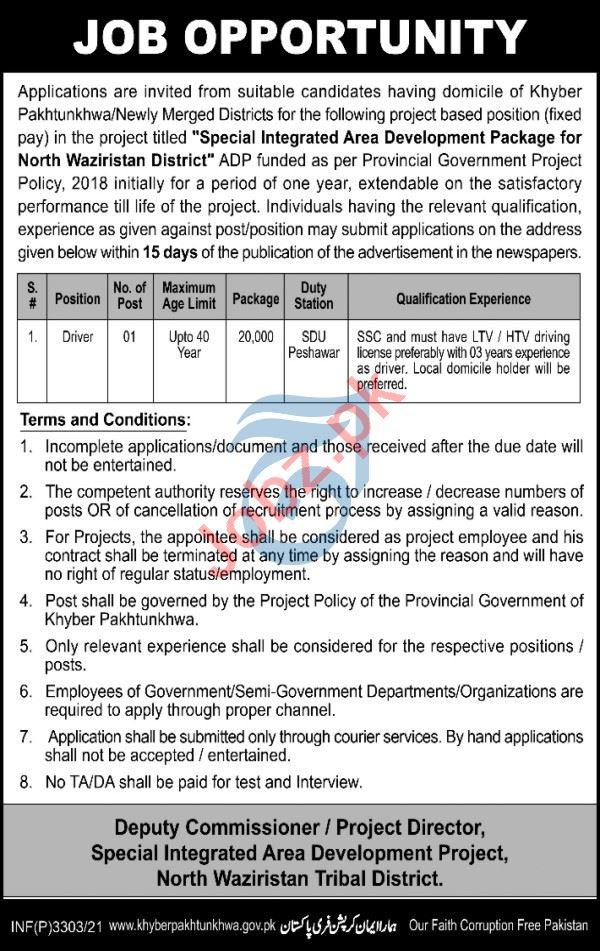 Special Integrated Area Development Project Waziristan Jobs