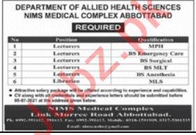 NIMS College of Medical Imaging Sciences Abbottabad Jobs