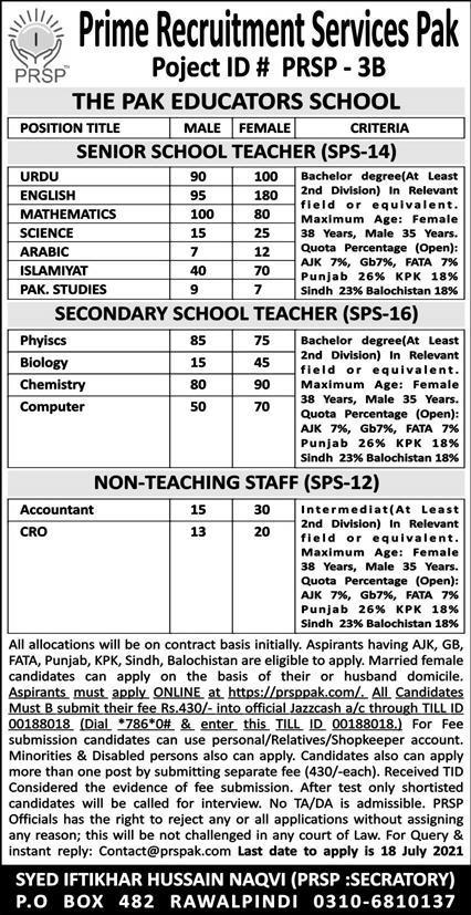 The PAK Educators School Rawalpindi Jobs 2021