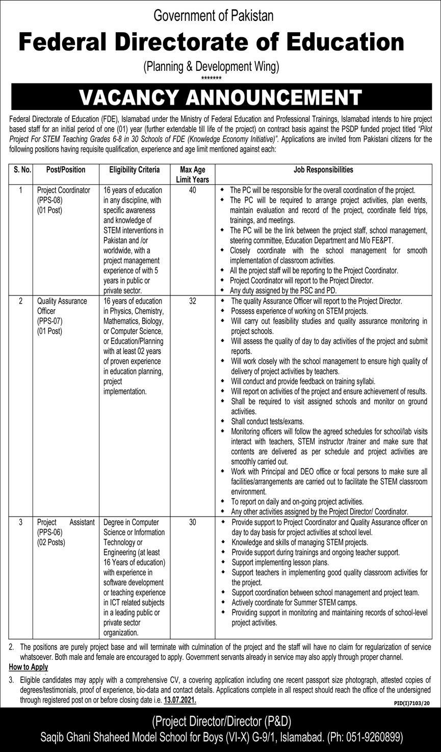 Federal Directorate of Education FDE Islamabad Jobs 2021