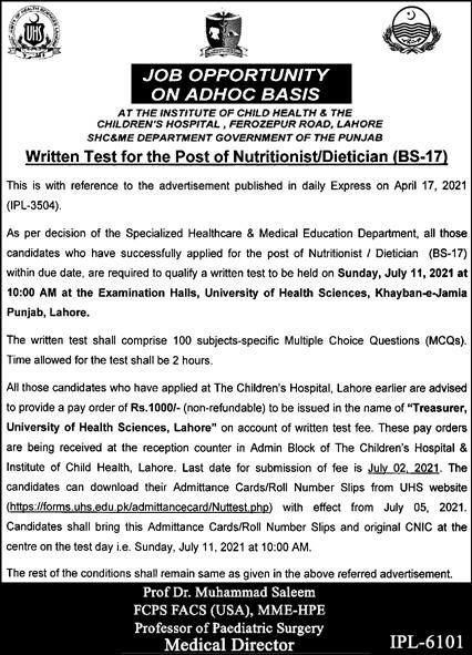 Children Hospital Lahore Jobs 2021