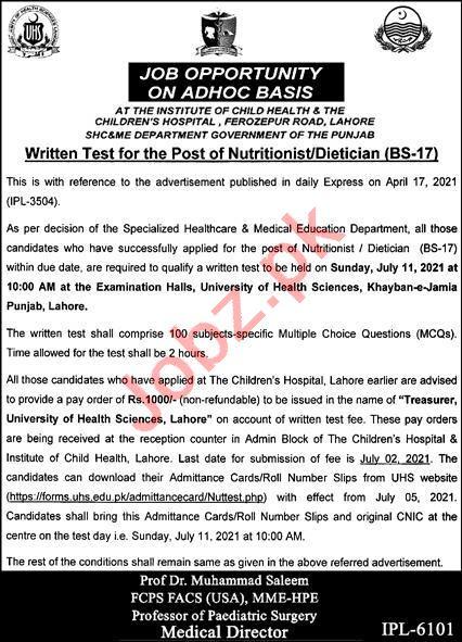 Children Hospital Lahore Jobs 2021 for Nutritionist