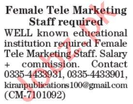 Female Telemarketing Office & Sales Coordinator Jobs 2021