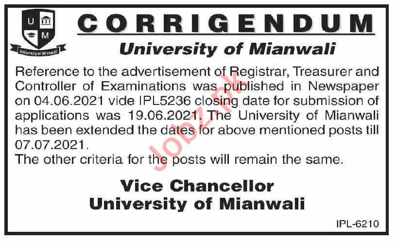 University of Mianwali UMW Jobs 2021 for Registrars