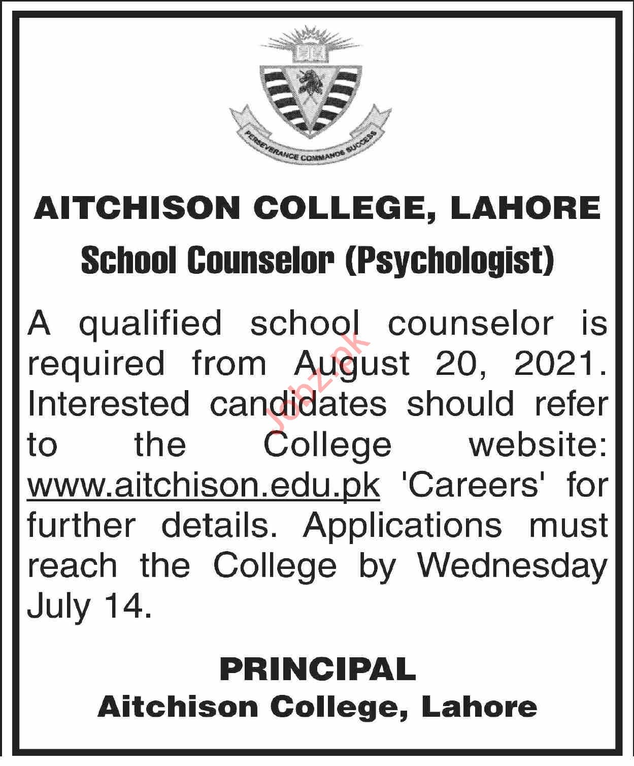 Aitchison College Lahore Jobs 2021 for School Counselor