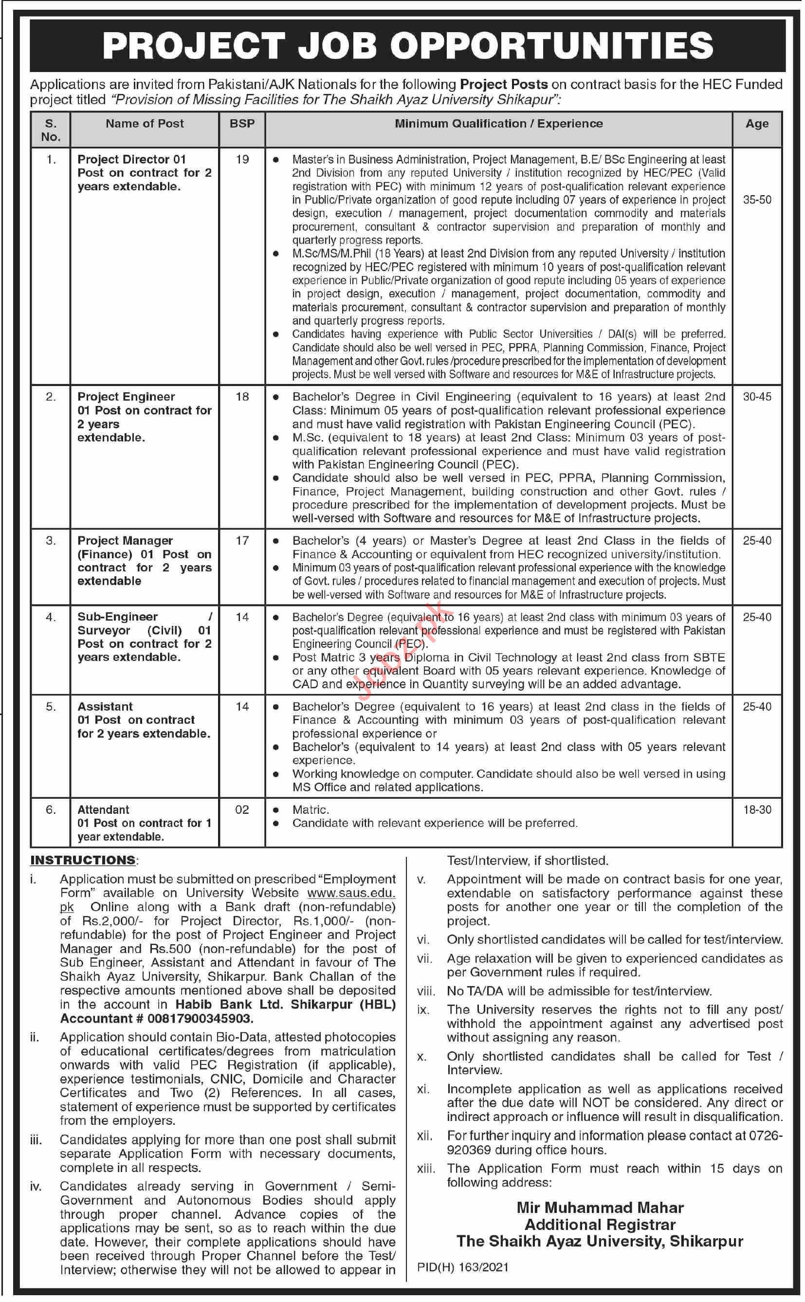 Sheikh Ayaz University Shikarpur SAUS Jobs 2021 for Director