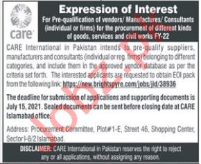Care International Islamabad NGO Jobs 2021 for Consultants
