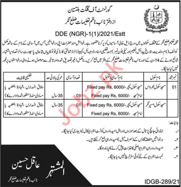 District Education Officer DHO District Nagar Jobs 2021