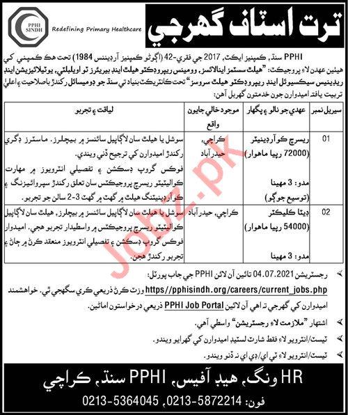 PPHI Sindh Jobs 2021 Data Collector & Research Coordinator