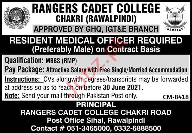 Rangers Cadet College Chakri Jobs 2021 for Medical Officer