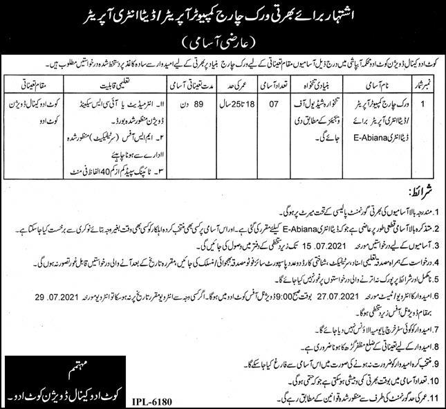 Canal Division Irrigation Department Computer Operator Jobs
