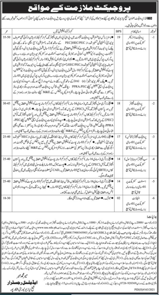 Shaikh Ayaz University Shikarpur Management Jobs 2021