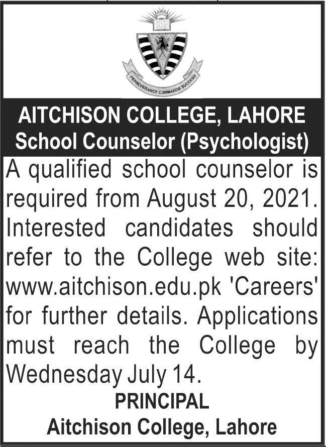 Aitchison College Lahore School Counselor Jobs 2021