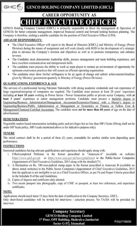 Chief Executive Officer Jobs GENCO Holding Company Limited